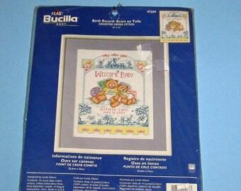 SALE Bucilla Creative Needlecraft Cross Stich Bears on Toille Birth Announcement  Vintage New # 43268