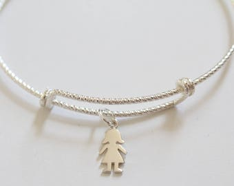 Sterling Silver Bracelet with Sterling Silver Girl Charm, Tiny Girl Charm Bracelet, Silver Girl Charm Bracelet, Girl Bracelet, Girl Bracelet