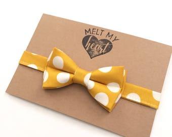Mustard Polka Dot Bow Tie - kids bow tie, baby bow tie, bowtie, boys bow tie, mustard