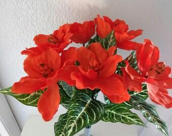 """SIX 24"""" tangerine magnolia stems, vintage"""