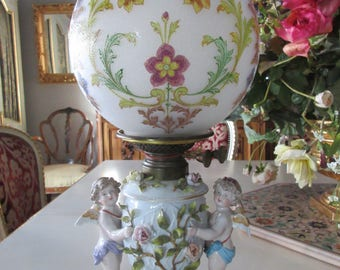 GERMANY MEISSEN ANTIQUE Cherub Oil Lamp with Baccarat Shade