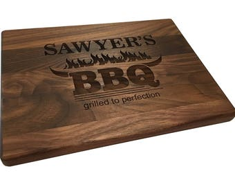 Personalized BBQ Cutting Board Dad Gift Father's Day Gift Backyard Grilled to Perfection Man Gift Horns Flames