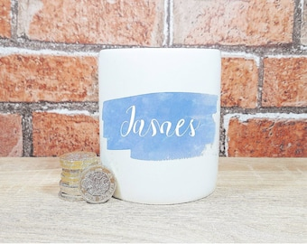 Personalised blue name money box customised savings jar ceramic storage with slot and stopper children's wedding birthday christening gift