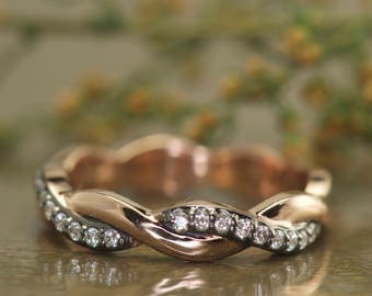 3/4 Eternity Twisted Wedding Band in 14k Rose Gold with Black Rhodium, Pave Set Diamonds, Tight Twist, 4mm Wide, 0.23ctw, Hailey Rylie B