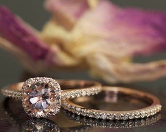 Super Value! 1.00ct Morganite and Diamond Halo Bridal Set in 14k Rose Gold, Matching Diamond Wedding Band Diamond, Kylie B & Petite Bella SV