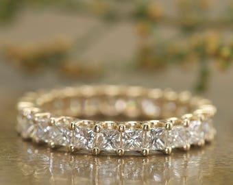 "2.50ctw Princess Cut Diamond Eternity Band in 14k Yellow Gold, Shared ""U Prong"" Set, 3.5mm Wide, Square Diamond Wedding Band, Cassandra B"