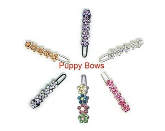 Puppy Bows ~ Wee super tiny hair clips for dogs bow pet barrette pink purple peach crystal~ US Seller