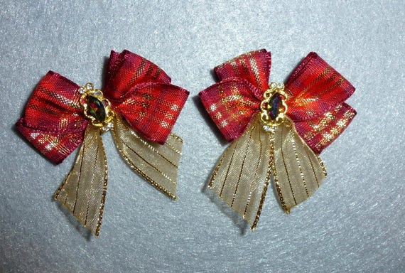 Puppy Bows ~ 2 red gold small dog hair bow with fancy rhinestone center ~Usa seller (fb85)