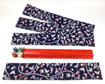Set of 4 Standard Mahjong Rack Sleeves ~ Japanese Karakusa-Crane-Flower pattern ~ Silk and Cotton ~ Mah Jongg