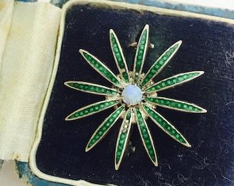 Vintage Sterling Guilloche Thin Petal Green Daisy Like Flower Brooch Pendant Combo Jewelry Piece