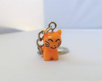Orange Kitty Cat Key Chain Cute Animal Key Chain Lightweight Resin Purse Accessory Bag Stuffer Gift Idea
