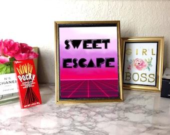 Vaporwave Sweet Escape Printable Poster - Pink Vaporwave