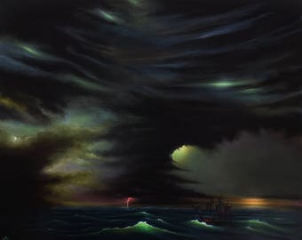 """Call of Cthulhu, H.P Lovecraft inspired, Seascape, Fantasy, Original Painting, Wall Art, Home decor, Acrylic on canvas - 20""""x 16"""""""