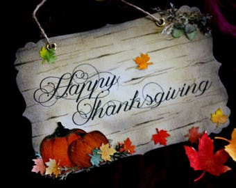 Happy Thanksgiving Sign/Decoration - Vintage Sign