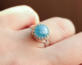 Sterling Silver Ring with Blue Ice Cubic Zirconia
