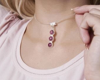 Sterling Silver Necklace with Gemstone Light Rose Pink Cubic ZirconiaIce Effect・Cocktail Jewelry
