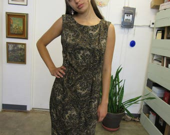 Vintage Brown Beaded Fancy Rayon Dress Size S
