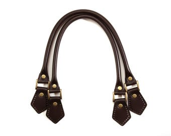 """18.8"""" byhands 100% Genuine Leather Purse Handles/Bag Strap with Bronze Style Ring (22-4701)"""