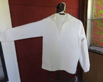 "Vintage 1940s WWII navy uniform deck top shirt white dress cotton twill middy sailor  36"" chest waist (31117)"