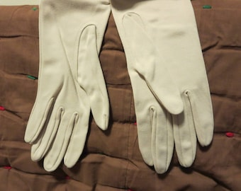 Vintage 1950s NOS Kayser gloves tan taupe long cloth nylon formal Magic Motion original tags unused unworn (62417)