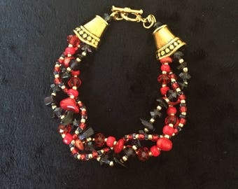 Red, Navy and Gold Bracelet