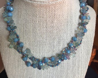 Blue, Mauve and Green Necklace