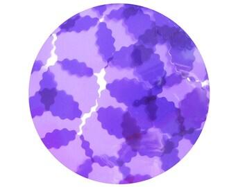 Round Ruffle Edge Vinyl Shape Top Hole 1.5 inch  Purple Go Go Transparent