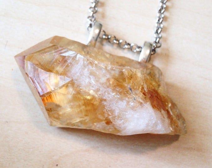 Raw Citrine Statement Necklace, Large Citrine Necklace, Crystal Statement Necklace, Citrine Crystal Necklace
