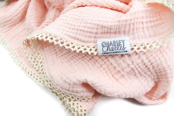 PEACH Swaddle Blanket /Cream Crochet Lace Swaddle Blanket /Gauze Blanket / Blanket / Blanket / Newborn Blanket / Newborn Baby Blanket
