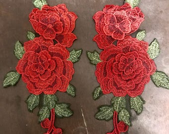 Pair of embroidered roses