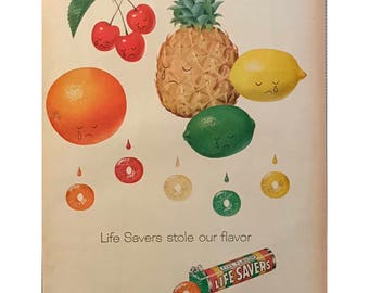 Vintage Life Savers Candy Ad Crying Fruit Tropical Colors 1950s Lifesavers Vintage Candy Lemon Lime Pineapple Orange Cherry Colorful