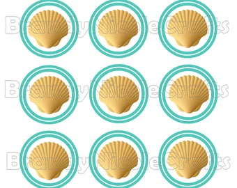 4x6 Sea Shell Scallop Chevron Digital Bottle Cap Images - INSTANT Download - 1 inch
