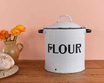 Vintage White Enamel Flour Storage Jar / Canister / Container