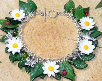 Summer Flowers Daisy Bracelet - Handmade Polymer Clay Jewellery