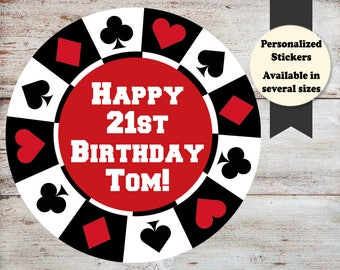 Poker Party Stickers, Poker Birthday Favors, Poker Stickers, Casino Birthday Party, Casino Stickers, Casino Favors, Poker Party