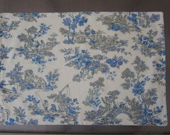 Blue toile placemats, set of 4, cotton easy care fabric