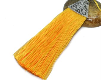 Large tassel 08cm yellow polyester with Silver Cup