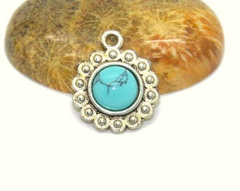 2 cabochons 08 mm howlite turquoise