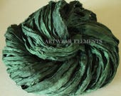 Sari Silk, Medium Green Kale, Fair Trade, Per Yard, Pure Sari Silk, Textile, Knitting Yarn, Yarn, Ribbon, Silk, Green, ArtWear Elements, 150