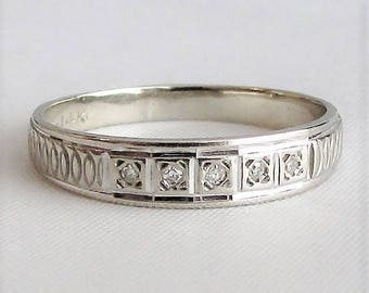 14K White Gold Diamond Engraved Wedding Band - Vintage Antique White Gold Wedding Band - Unique Wedding Band - Anniversary Band
