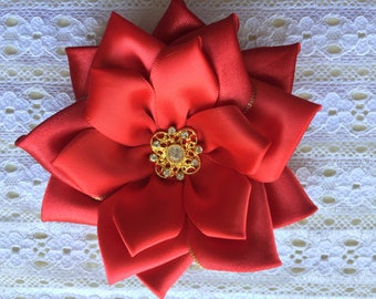 Red Satin Accessories-Roses & Bows- Brooch, HairClip, Corsage and Shoeclips