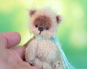 """3"""" miniature Teddy bear, Blythe friend artist teddy bears miniature teddy bear Blythe friend toy crochet teddy bear ooak teddy bear"""