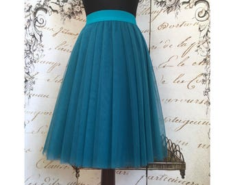 Petrol tulle skirt, 4 layers tulle skirt, blue tulle skirt, party tulle skirt, engagement outfit, dark teal tulle skirt, office party dress