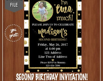 I'm Two Much Birthday Invitation - Second Birthday Invite - Girl's Second Birthday Invite - Black & Gold Glitter - Two Much - Girly