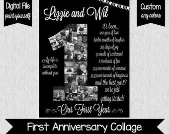 Black and White Anniversary Gift - Black and White Collage - Anniversary Gifts - One Year Anniversary - First Anniversary - Wedding