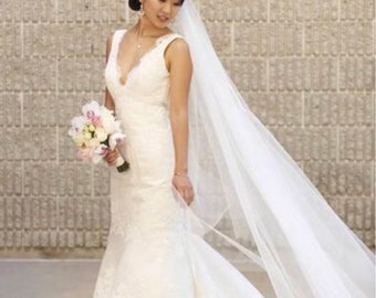 Bridal Veil, Cascade Veil, Single Tier Veil, Wedding Veil, Soft Tulle Veil, Bridal Wedding Veil, Cathedral Veil, Fingertip Veil-