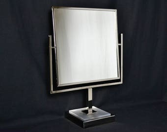 Mid Century Modern Large Chrome Tabletop Mirror Double Sided