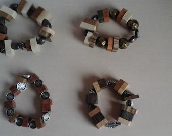 handmade bracelets stretch fabrics in precious wood