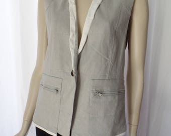 vintage HELMUT LANG grey linen and white leather detail vest/ minimalist + distressed: size Small