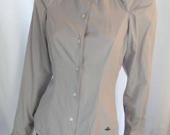 vintage VIVIENNE WESTWOOD grey minimalist blouse/ shielded cap shoulder detail: size 4-6 US woman